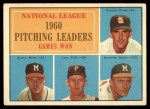 1961 Topps #47 LNE  -  Warren Spahn / Ernie Broglio / Lew Burdette / Vern Law NL Pitching Leaders Front Thumbnail