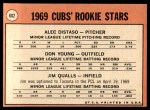 1969 Topps #602 xVIS  -  Alec Distaso / Don Young / Jim Qualls  Cubs Rookies Back Thumbnail