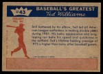 1959 Fleer #43   -  Ted Williams Leads Outfielders in Double Plays Back Thumbnail