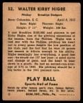 1941 Play Ball #52  Kirby Higbe  Back Thumbnail