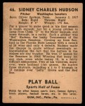 1941 Play Ball #46  Sid Hudson  Back Thumbnail