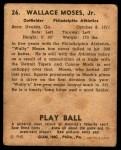 1940 Play Ball #26  Wally Moses  Back Thumbnail