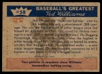 1959 Fleer #58   -  Ted Williams Hits .388 Back Thumbnail