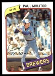 1980 Topps #406  Paul Molitor  Front Thumbnail
