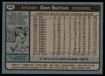 1980 Topps #440  Don Sutton  Back Thumbnail