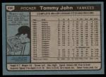1980 Topps #690  Tommy John  Back Thumbnail