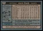 1980 Topps #167  Jack Clark  Back Thumbnail