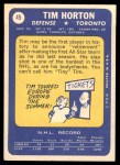 1969 Topps #45  Tom Horton  Back Thumbnail