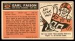 1965 Topps #158  Earl Faison  Back Thumbnail