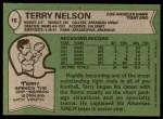 1978 Topps #18  Terry Nelson  Back Thumbnail