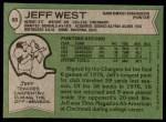 1978 Topps #88  Jeff West  Back Thumbnail