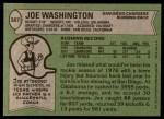 1978 Topps #387  Joe Washington  Back Thumbnail