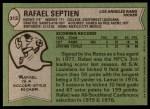 1978 Topps #312  Rafael Septien  Back Thumbnail