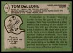 1978 Topps #13  Tom DeLeone  Back Thumbnail