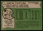 1978 Topps #28  Jack Tatum  Back Thumbnail