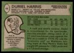 1978 Topps #46  Duriel Harris  Back Thumbnail