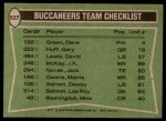 1978 Topps #527   Buccaneers Leaders Checklist Back Thumbnail
