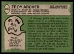 1978 Topps #492  Troy Archer  Back Thumbnail