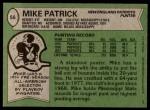 1978 Topps #56  Mike Patrick  Back Thumbnail