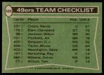 1978 Topps #525   49ers Leaders Checklist Back Thumbnail