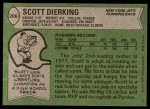 1978 Topps #206  Scott Dierking  Back Thumbnail
