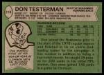 1978 Topps #219  Don Testerman  Back Thumbnail