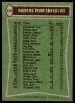 1978 Topps #520   Raiders Leaders Checklist Back Thumbnail