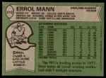 1978 Topps #210  Errol Mann  Back Thumbnail