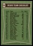 1978 Topps #504   Bears Leaders Checklist Back Thumbnail