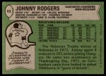 1978 Topps #63  Johnny Rodgers  Back Thumbnail