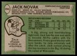 1978 Topps #294  Jack Novak  Back Thumbnail