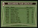 1978 Topps #527   Buccaneers Leaders Checklist Back Thumbnail
