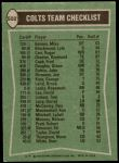 1978 Topps #502   Colts Leaders Checklist Back Thumbnail