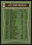 1978 Topps #519   Jets Leaders Checklist Back Thumbnail