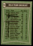 1978 Topps #503   Bills Leaders Checklist Back Thumbnail
