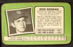 1971 Topps Super #7  Dick Bosman  Back Thumbnail