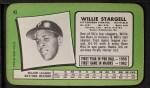 1971 Topps Super #43  Willie Stargell  Back Thumbnail