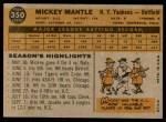 1960 Topps #350  Mickey Mantle  Back Thumbnail