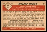 1953 Bowman B&W #30  Walker Cooper  Back Thumbnail