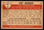 1953 Bowman B&W #6  Ray Murray  Back Thumbnail