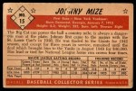 1953 Bowman B&W #15  Johnny Mize  Back Thumbnail