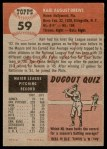 1953 Topps #59  Karl Drews  Back Thumbnail