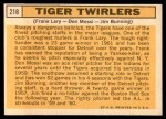 1963 Topps #218   -  Jim Bunning / Frank Lary / Don Mossi Tiger Twirlers Back Thumbnail