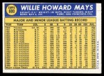1970 Topps #600  Willie Mays  Back Thumbnail