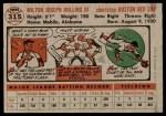 1956 Topps #315  Milt Bolling  Back Thumbnail