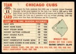 1956 Topps #11 CEN  Cubs Team Back Thumbnail