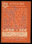 1952 Topps Look 'N See #56  Geronimo  Back Thumbnail