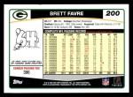 2006 Topps #200  Brett Favre  Back Thumbnail
