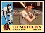 1960 Topps #420  Eddie Mathews  Front Thumbnail