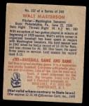 1949 Bowman #157  Walt Masterson  Back Thumbnail